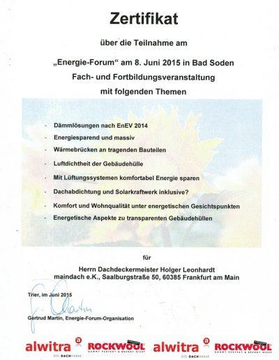 Zertifikat Energie Forum