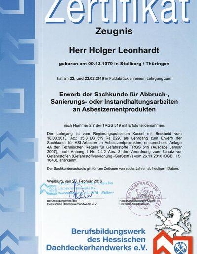 Zertifikat Asbestsanierung